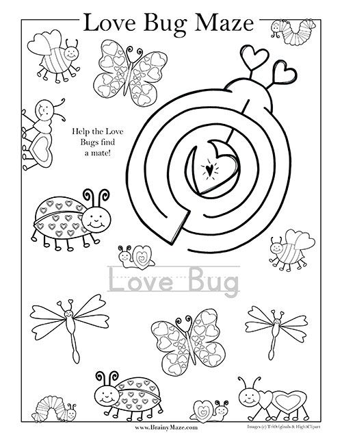 valentine day mazes coloring pages - photo#23