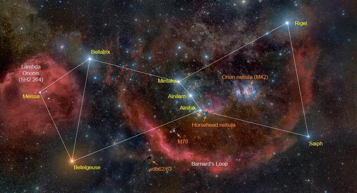 Orión, de cuerpo entero. La Gran Nebulosa, el cinturón de estrellas, la gigante roja Betelgeuse, la azul Rigel.