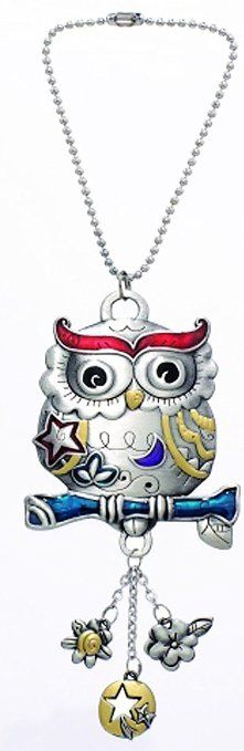 """Cool & Custom {3"""" w/ 4"""" inch Chain Hang} Single Unit of Rear View Mirror Hanging Ornament Decoration Made of Zinc Alloy w/ Owl Bird w/ Cute Charms Design [Audi Silver, Red, Blue & yellow Colored]"""