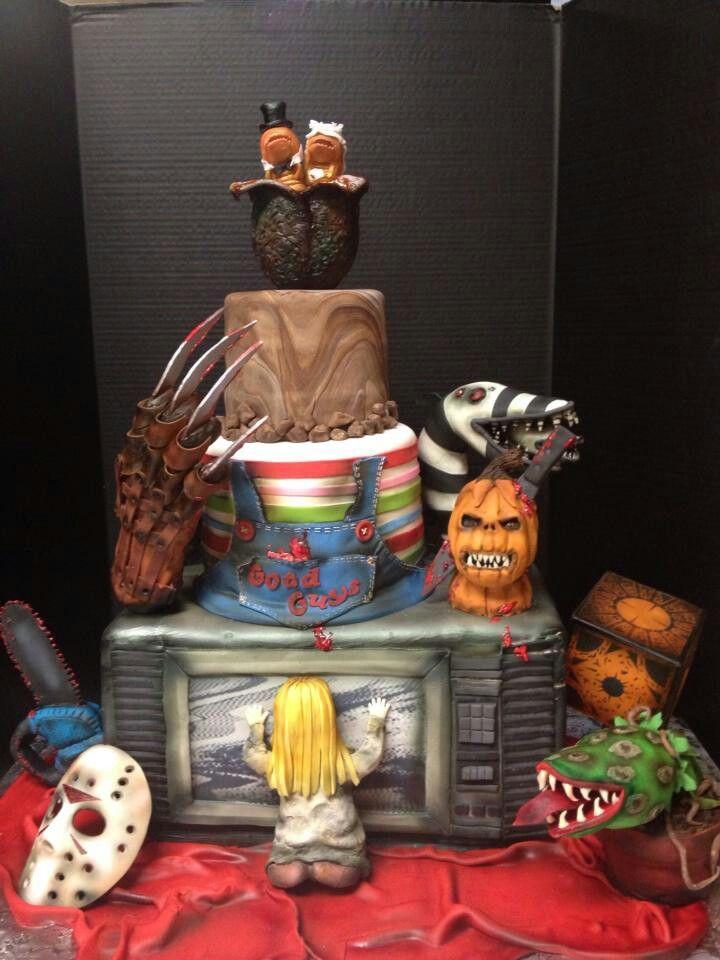 The Best Halloween Wedding Cake Ever! Freddy Krueger, Jason Voorhees, Poltergeist, horror.
