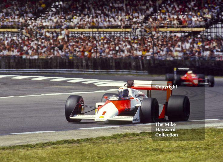 Alain Prost, Marlboro McLaren MP4-3, at Copse Corner before retiring with broken clutch on lap 53, British Grand Prix, Silverstone, 1987. #f1 #formula1