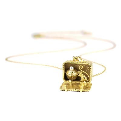 This intricate Hamper Locket contains a secret. A cute little mouse has snuck along to join the picnic and share a tasty cupcake. #picnic #necklace #timothyroe #alexmonroe