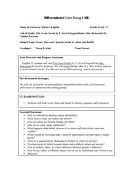 This is a UbD (Understanding by Design) plan for Gordon Korman's Jake, Reinvented and Fitzgerald's The Great Gatsby. I have planned for DI (differentiated instruction) within this unit: simply I taught both in my junior English classes at the same time. 10 Essential Questions, 4 Understandings, 1 Performance Task, and several Learning Activities.