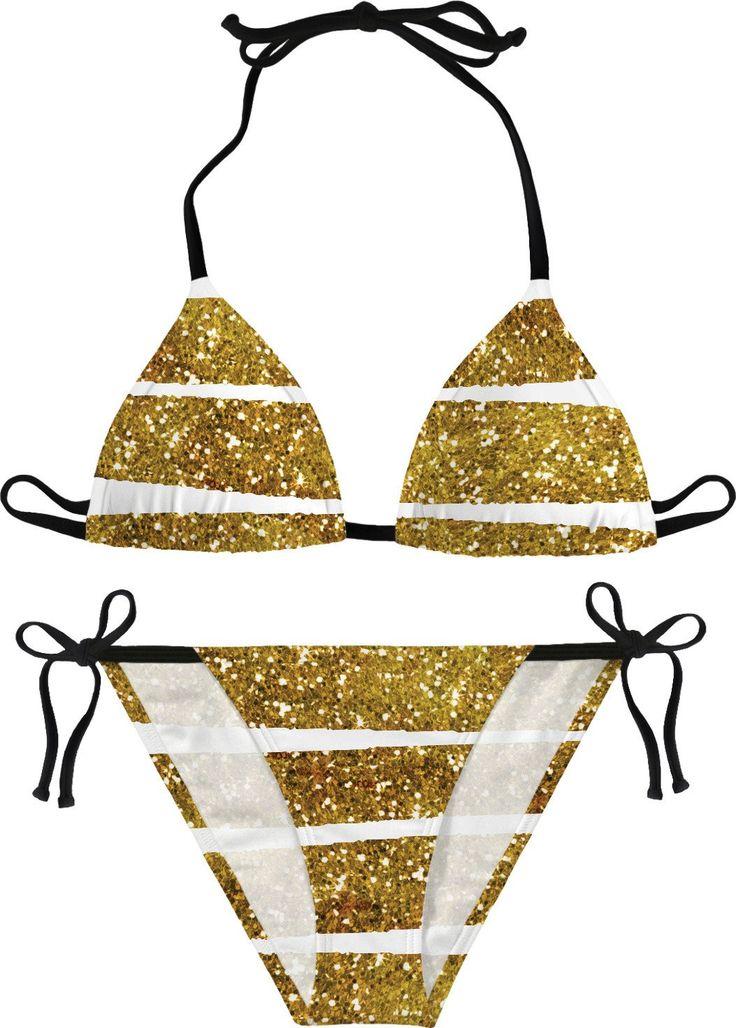 Faux Golden Glitter Bikini  #glitter #bikini #golden #summer2017 #summerfashion #beach #forgirls #fauxglitter #stripes #goldenstripes