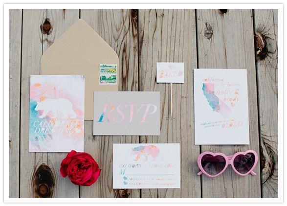 summery pastel wedding invitations by Pitbulls and Posies