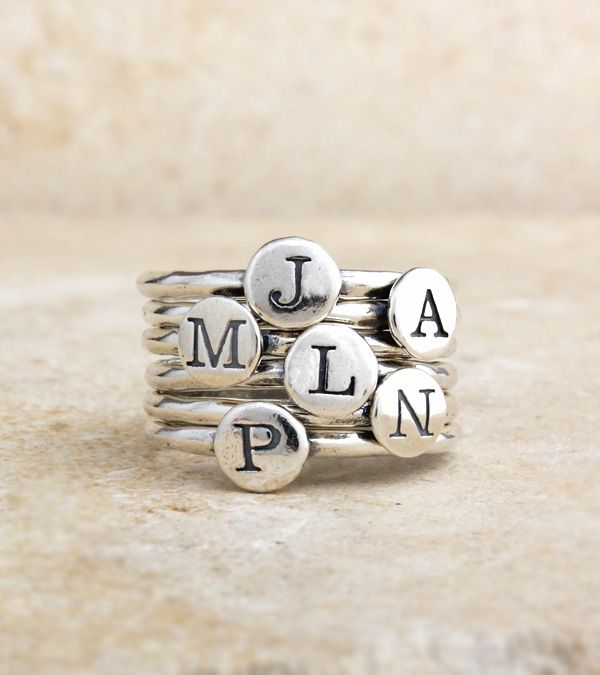 Mix and match! Stack and spell! Say whatever you want with these great stackable Alpha Dot Rings. Spell a child's name, stack your initials or get one initial for each of your children/grandchildren. These go great with our stackable Birthstone Dot Rings.