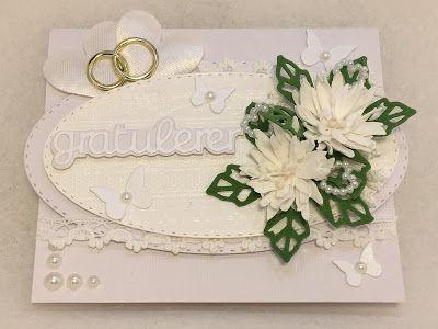 Ingunn sine kort: Et stort sett hvitt bryllupskort.