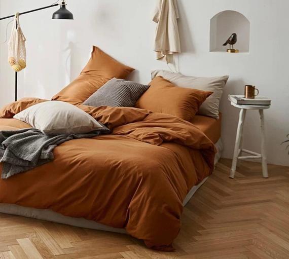 Ever Lasting Orange Bedding Set Orange Duvet Cover Burnt Orange Bed Set Queen Bedding Set King Bedding Set Orange Bed Set In 2021 Orange Bed Sheets Orange Bed Sets King Bedding Sets
