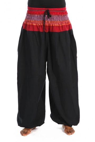 Pantalon sarouel elastique bouffant noir sari rouge Maka