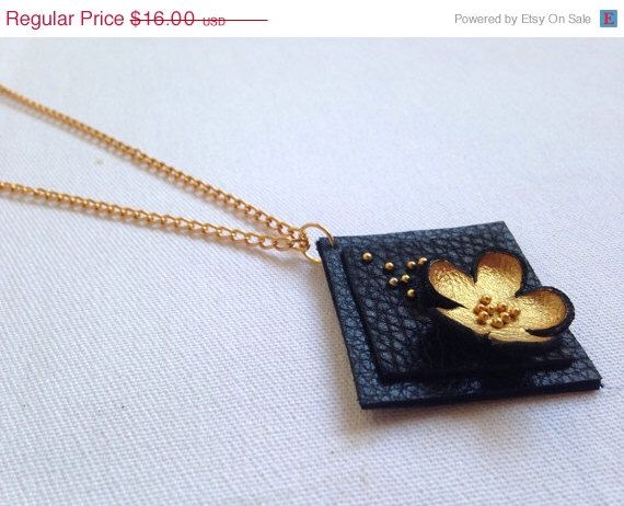 """50% OFF SALE Gold color floral leather pendant Statement necklace Flower Leather Jewelry """"Nature inspired"""" collection door julishland op Etsy https://www.etsy.com/nl/listing/176229349/50-off-sale-gold-color-floral-leather"""