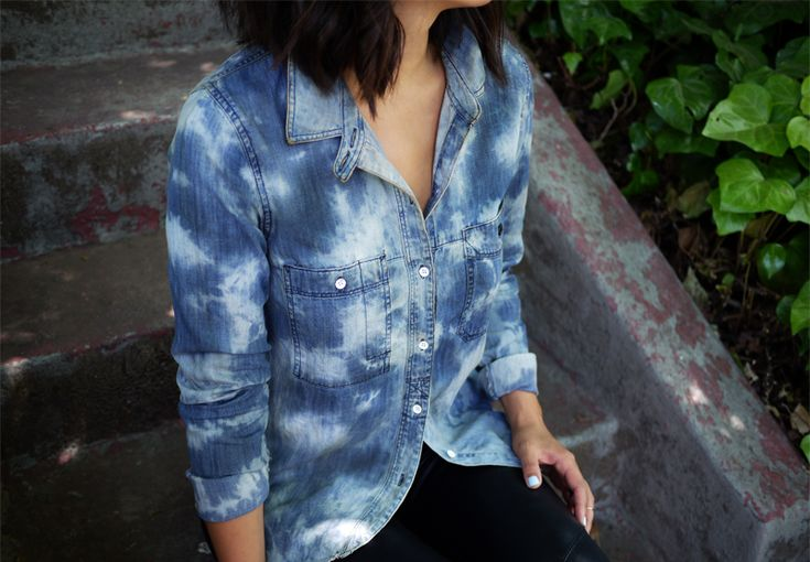 DIY tie dye denim shirt