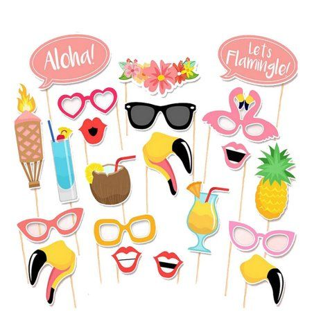 Free Shipping. Buy 21pcs Flamingo Hawaii Themed Summer Party Photo Booth Props Kit DIY Luau Party Supplies for Holiday Wedding Beach Party at Walmart.com