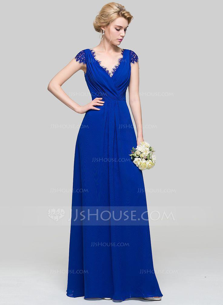 A-Line/Princess V-neck Floor-Length Ruffle Zipper Up Cap Straps Sleeveless No Royal Blue Spring Summer Fall General Plus Chiffon Height:5.7ft Bust:33in Waist:24in Hips:34in US 2 / UK 6 / EU 32 Bridesmaid Dress