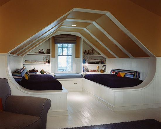 Interior Designs, Awesome Attic Of A House With Loft Window Covering Window Seat Shelving Dual White Bed Brown Bench Lighting Fixtures Stunning Attic Of A House For Various Rooms Design Ideas: Stunning Attic of a House for Various Rooms Design Ideas