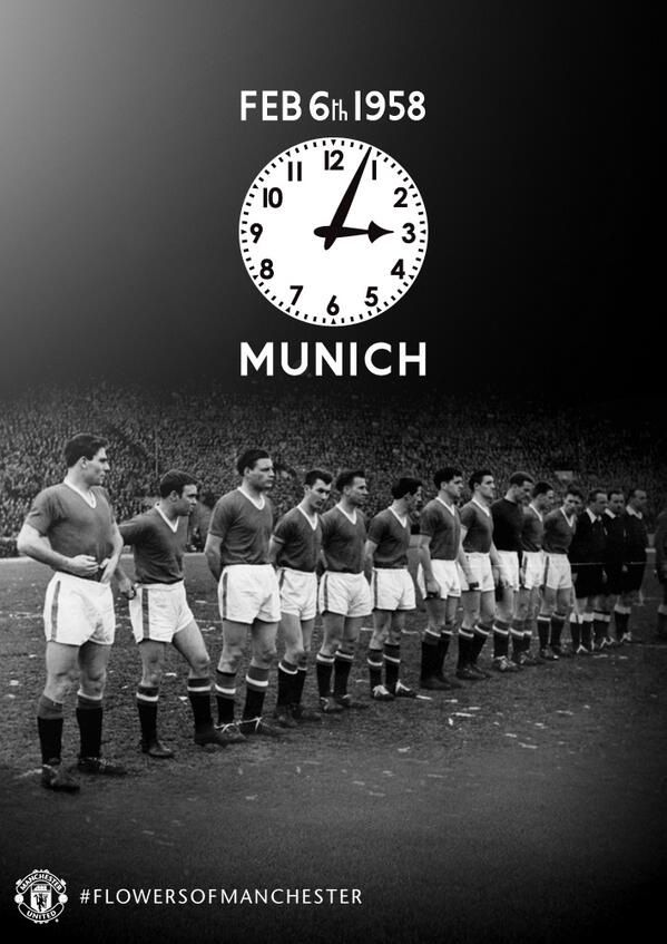 MUFC pauses to remember those lost in the Munich air disaster on 6 February 1958. Flowers of Manchester, RIP.