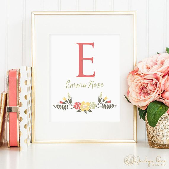 Name wall art decor: first name initial, first and middle names, unique baby shower gift, Name print, Nursery decor for girls, Nursery name