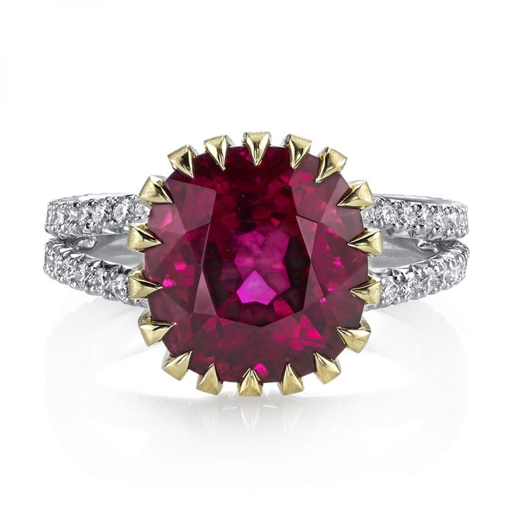 Rubellite cushion & diamond ring with pink tourmaline