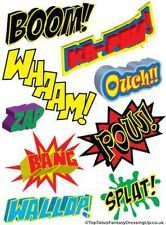 Superhero Fancy Dress, 9 Temporary Tattoo Set. Stag, Hen Party,Boy,Adult,Action