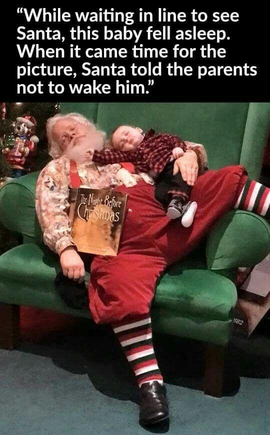 Sleeping Santa & toddler