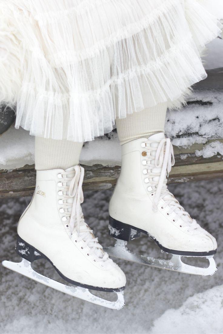 Skates and tulle skirt.