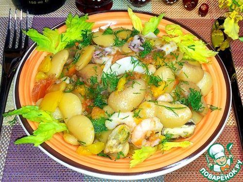 Белая фасоль с овощами и морепродуктами - кулинарный рецепт