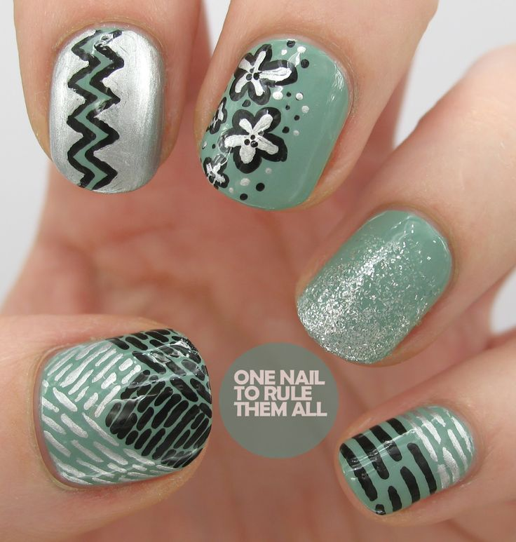 Today's Daily Nail Art is this mix-n-match design by onenailtorulethemall.