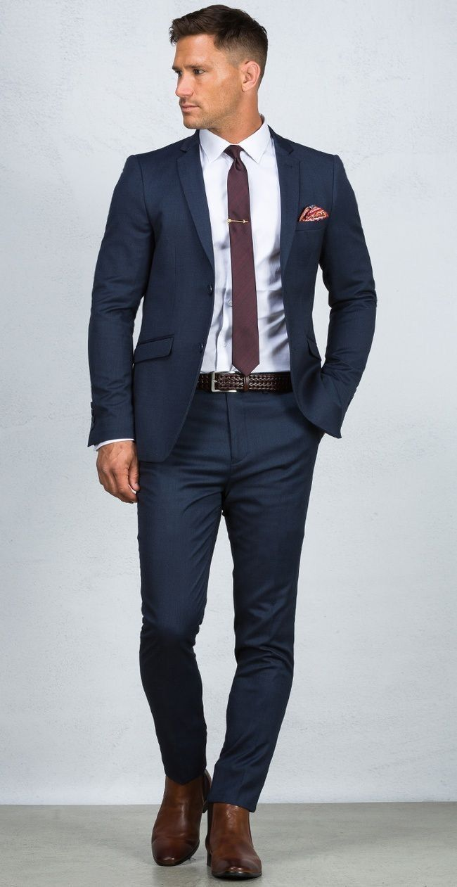 Navy Blue Suit, Sky blue shirt, Maroon Tie and Brown Shoes