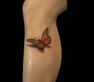 Colored 3D Butterfly Leg Tattoo
