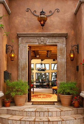 4 fireplaces and 2 outdoor fountains enhance the Spanish charm of the property.