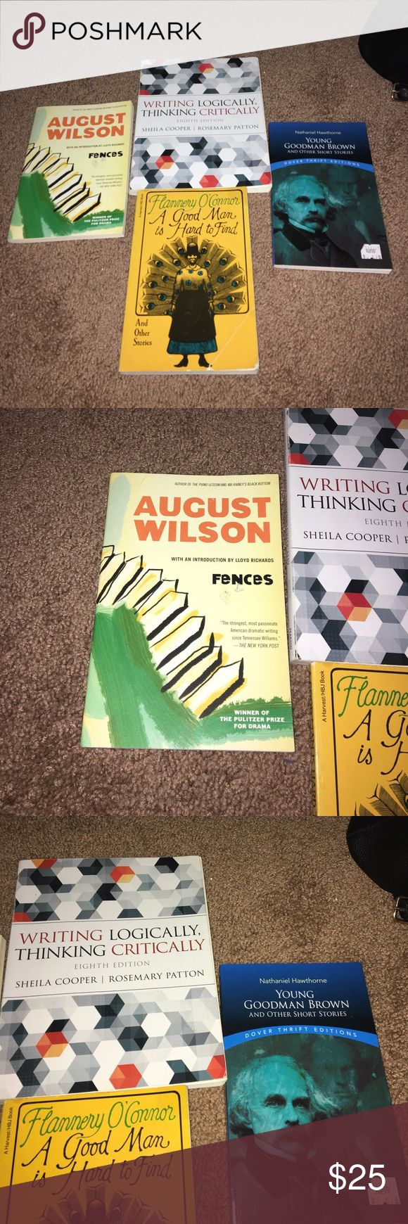 """English books Writing logically thinking critically 8th edition// August Wilson """"Fences"""" // """"A good man is hard to find"""" // """"Young a goodman brown""""// they are in good conditions// if you just want one then I will give you a different price Other"""