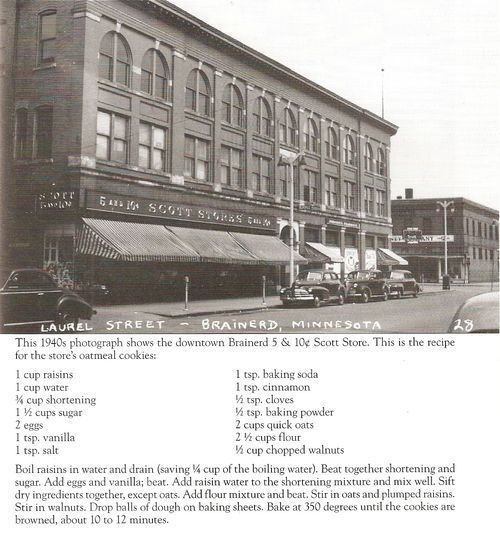 Woolworth's (Scott Store's) Oatmeal Cookie Recipe - this is the cookie that was served at the lunch counter of the original Scott's Store - Whiteley Creek
