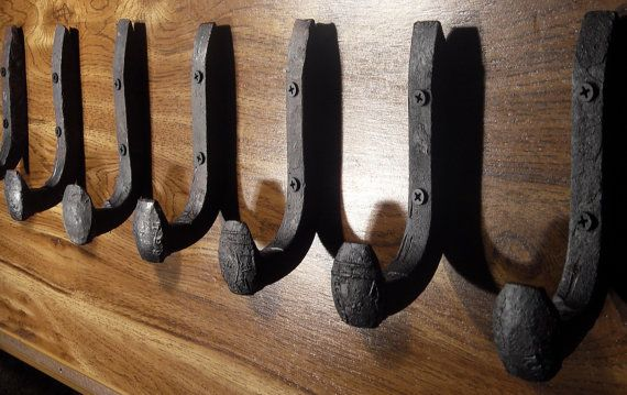 Free Shipping 6 Antique Wall Hooks Old Railroad Spikes Wrought Iron Strong Shop Set Hand Made Hammered Blacksmith- Make Vintage Coat Racks