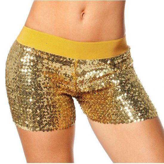 Hotpants goud met pailletten. Deze gouden hotpants heeft aan de bovenzijde een elastieken band. Geschikt voor volwassenen.