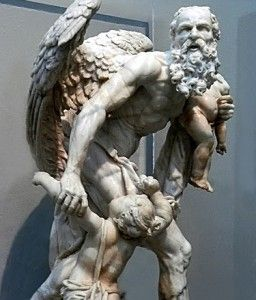 CRONUS (Roman SATURN) was the leader and the youngest of the first generation of Titans, divine descendants of Gaia, the earth, and Uranus, the sky. He overthrew his father and ruled during the mythological Golden Age, until he was overthrown by his own son, Zeus and imprisoned in Tartarus.