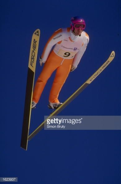 Dieter Thoma of Germany in action during the 120 metre ski jump team event in the 1994 Winter Olympic Games at Lillehammer Norway Mandatory Credit...
