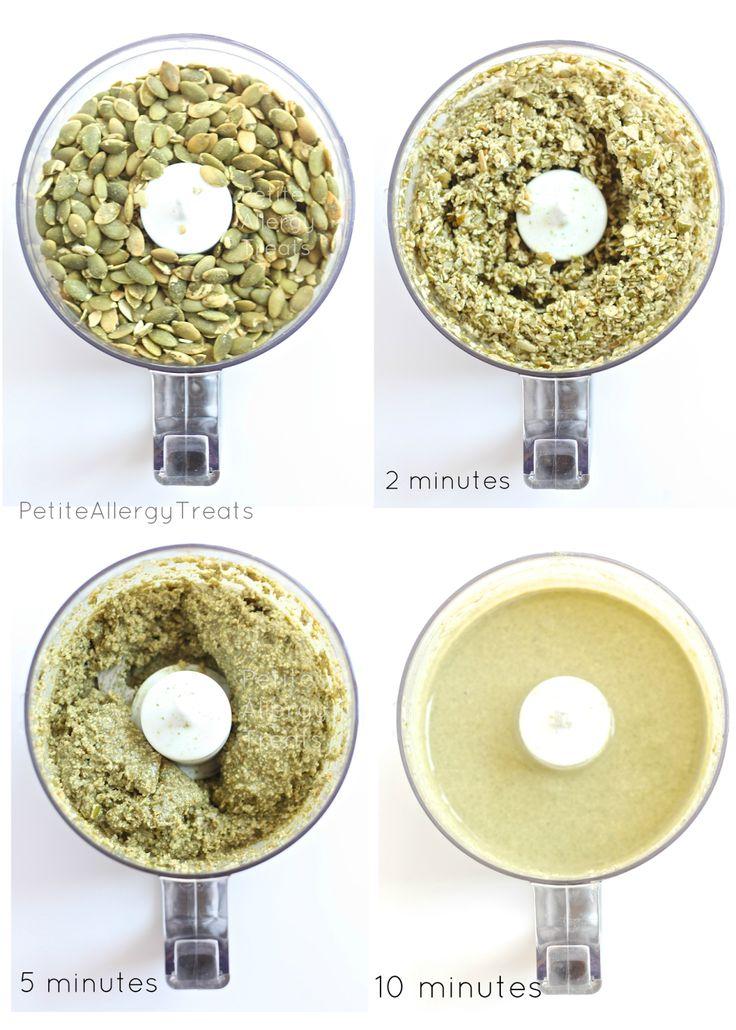 Creamy Pumpkin Seed Butter-PetiteAllergyTreats  Pumpkin seed butter that is creamy, easy and nut free! #peanufree, #glutenfree