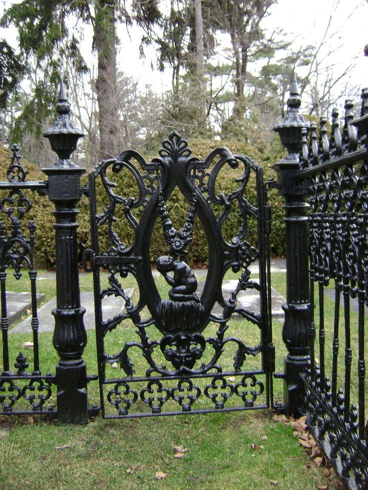 Iron Gate at Sutton Victorian Iron Gate opposite the stone church in Sutton next to Lake Simcoe in Ontario ,Canada.