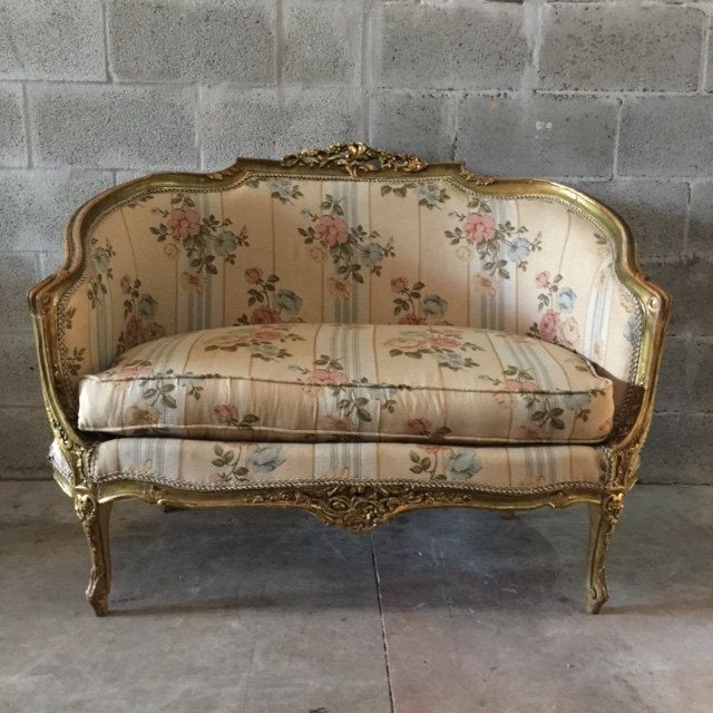 Antique French Louis Xvi Sofa Couch Marquise Settee Handmade Fl Pattern Blue Pink Green Gold Leaf