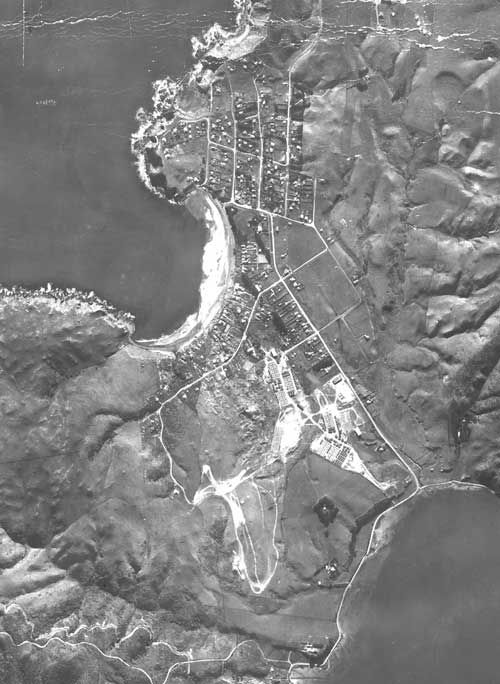 Aerial photo of Titahi Bay 1944. Our house is there