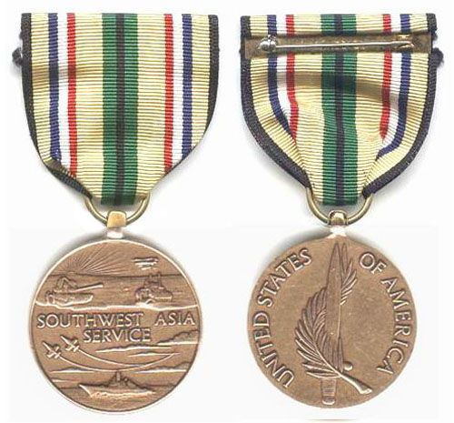The Southwest Asia Service Medal is a military award of the United States armed forces which was created by order of President George H.W. Bush on 12 March 1991. The award is intended to recognize those military service members who performed duty during the years of the Persian Gulf War.  Individuals authorized the Southwest Asia Service Medal must have served in support of Operation Desert Shield or Desert Storm, in one or more of the following areas, between 2 August 1990 and 30 November…