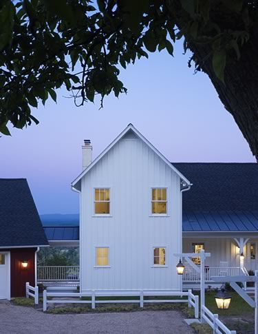 Love the shape, but especially the 'board and batten' siding and metal roof!    Barnes Vanze Architects - Traditional New Homes: Modern Farmhouse, House Ideas, Exterior, Dream House, Board And Batten, Design