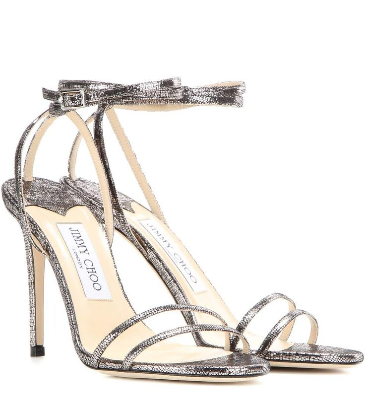 Tizzy 100 silver metallic leather sandals