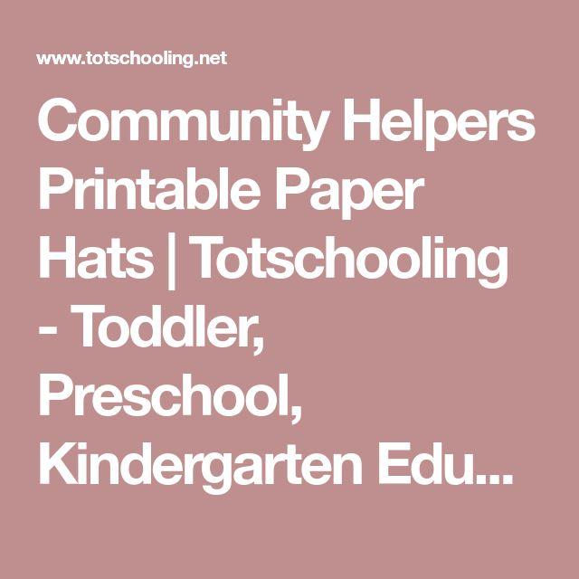 Community Helpers Printable Paper Hats   Totschooling - Toddler, Preschool, Kindergarten Educational Printables