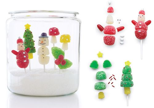 Assemble Christmas lollipops out of sweets and create an edible snow scene in a jar. Get the tutorial here.