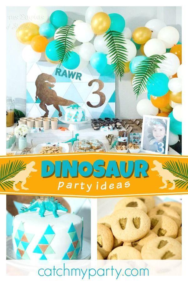 Dinosaurs Birthday Dinosaurs 3rd Birthday Party Catch My Party Roar Birthday Party Dinosaur Theme Party Dinosaur Birthday Party