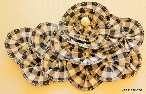Black And white Checks Cotton Fabric Flower by KnicKnackNook