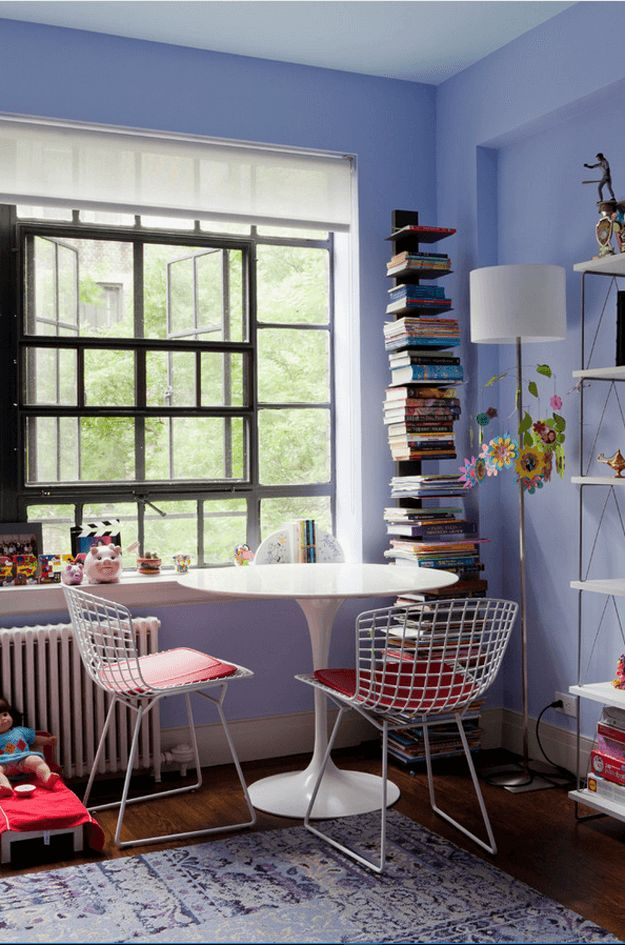 periwinkle blue kids room, sherwin williams dahlia, lavender blue interior