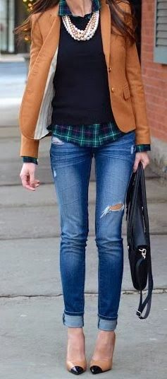 distressed denim, tartan, leather, pumps, pearls
