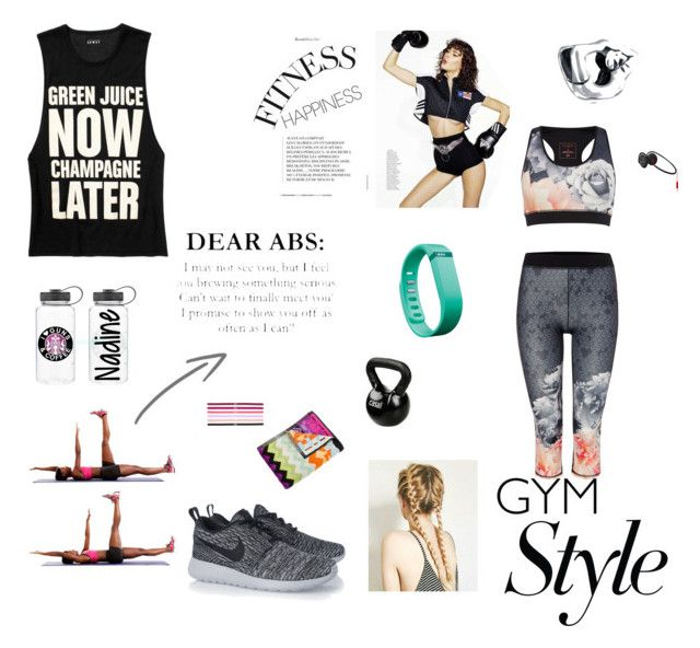 """""""GymWear #1"""" by stavroula-xifara ❤ liked on Polyvore featuring Bling Jewelry, Ted Baker, Missoni Home, Casall, Fitbit, Under Armour and NIKE"""
