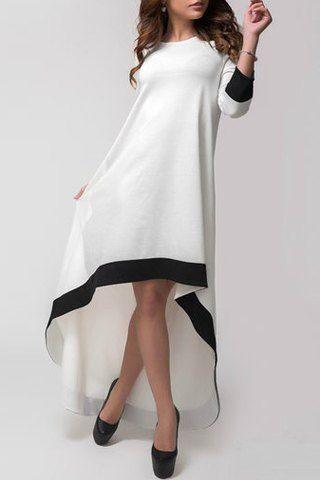 White Round Neck Contrast Trims High Low Dress 13.39